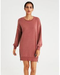 American Eagle - Multicolor Ae Active Washed Balloon Sleeve Fleece Zipper Dress - Lyst