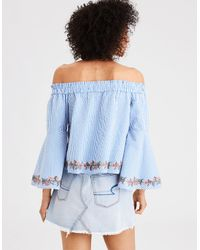 dc7bce3fb5d American Eagle Ae Tiered Off-the-shoulder Ruffle Sleeve Top in Blue ...