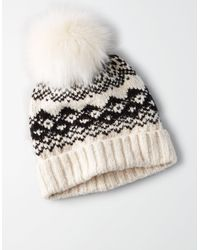 American Eagle Multicolor Neutral Sweater Pattern Beanie