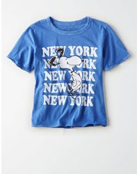 American Eagle - Blue Peanuts Nyc Shrunken Graphic T-shirt - Lyst