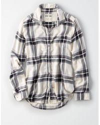 American Eagle White Ahh-mazingly Soft Plaid Boyfriend Shirt
