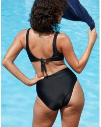 American Eagle - Black Twist Cutout One Piece Swimsuit - Lyst
