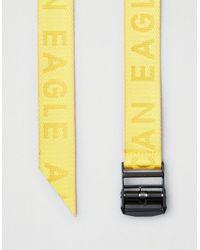 American Eagle Yellow Jacquard Logo Belt for men