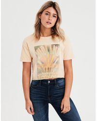3c833e251ce Lyst - American Eagle Ae Midland Graphic Crop Top in Natural