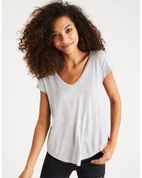 American Eagle Gray Ae Soft & Sexy V-neck Favorite T-shirt