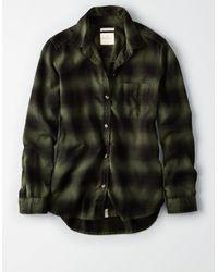 American Eagle Green Ae Plaid Boyfriend Button-down Shirt