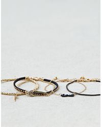 American Eagle - Metallic Black & Gold Arm Party Bracelets - Lyst