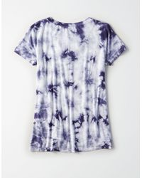 American Eagle Blue Ae Soft & Sexy Knit Lace Up Tee