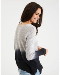 American Eagle Gray Lace-up Front Sweater