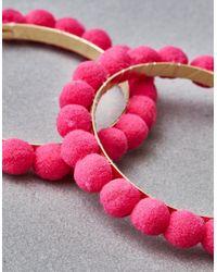 American Eagle - Pink Pom Hoop Earrings - Lyst