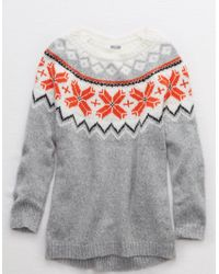 American Eagle Gray Oversized Fair Isle Sweater