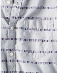 American Eagle - Gray Ae Classic Striped Button Down Oxford Shirt for Men - Lyst