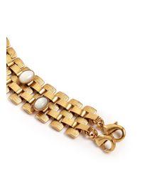 Ela Stone Metallic Nicole Stone Embellished Block Chain Bracelet