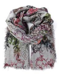 Faliero Sarti Gray Flower Print Embroidery Scarf