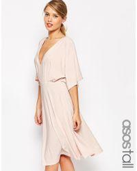 ASOS - Black Kimono Plunge Midi Dress - Navy - Lyst