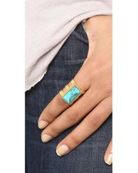 Paige Novick Isabelle Collection 3 Row Ring with Stone Inset Shiny Goldturq Blue