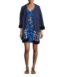 Nanette Lepore Blue Embroidered Fringed Poncho W/ Hood