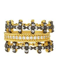 Freida Rothman | Metallic Floral Prong-set Stackable Cz Rings | Lyst