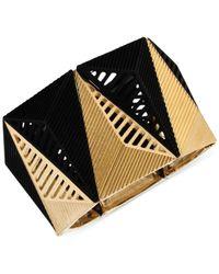 Steve Madden - Metallic Gold-Tone And Black Pyramid Stretch Bracelet - Lyst