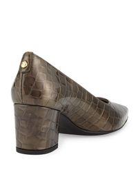 Stuart Weitzman Natural Logofirstclass Crocodile-embossed Mid-heel Pump