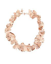Aurelie Bidermann - Pink Ginkgo Rose-gold Plated Necklace - Lyst