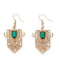 Mawi | Green Art Deco Style Crest Earrings | Lyst