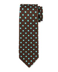 Kiton - Brown Dotted Texture Tie for Men - Lyst
