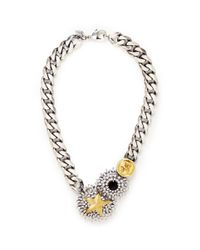 Iosselliani | Metallic Flower Badge Medallion Curb Chain Necklace | Lyst