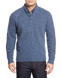 Peter Millar Blue 'donegal' Wool Blend Henley Pullover for men
