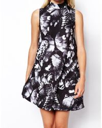 ASOS - Multicolor Swing Dress With High Neck In Butterfly Print - Lyst