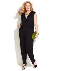 INC International Concepts - Black Plus Size Surplice Tapered Jumpsuit - Lyst