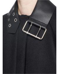 Balenciaga Black Leather Buckle Neck Virgin Wool Felt Coat