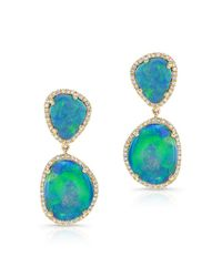 Anne Sisteron | Metallic 14kt Yellow Gold Organic Opal Drop Earrings | Lyst