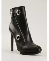 Alexander McQueen Black Eyelet Ankle Boots