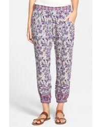 Rip Curl - Purple Floral-Print Cropped Pants - Lyst