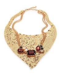 ABS By Allen Schwartz | Metallic Some Like It Hot Faceted Mesh Bib Necklace | Lyst