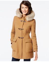 Trina Turk | Natural Coyote-fur-trim Buckled Duffle Coat | Lyst