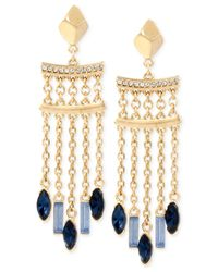 Kenneth Cole | Gold-tone Blue Crystal Chandelier Earrings | Lyst
