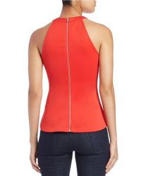 Guess | Red Mesh Peplum Top | Lyst