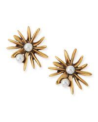 Oscar de la Renta | Metallic Starburst Pearly Button Clip-On Earrings | Lyst