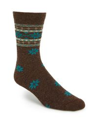 Woolrich | Brown 'snowflake' Crew Socks for Men | Lyst