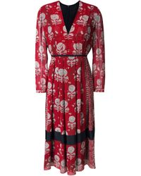 Burberry Prorsum Red Floral Print Pleated Dress