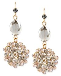 Kenneth Cole   Metallic Gold-tone Woven Cluster Double Drop Earrings   Lyst