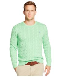 Polo Ralph Lauren | Green Cable-knit Crewneck Sweater for Men | Lyst