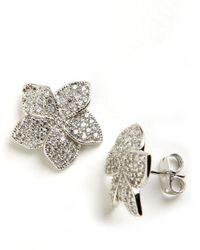 Lord & Taylor | Metallic Sterling Silver And Cubic Zirconia Stud Earrings | Lyst