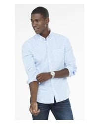 Express | Blue Soft Wash Striped Shirt for Men | Lyst