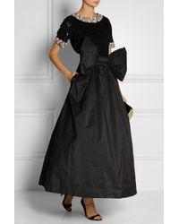 Ashish Black Bow-Embellished Taffeta Maxi Skirt