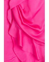 Balmain - Purple Draped Silk Mini-Dress - Lyst