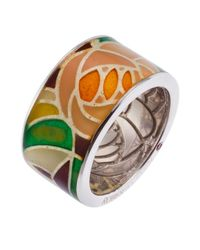 Roberto Coin | Multicolor Women's Sterling Silver And Enamel Flower Pattern Ring | Lyst
