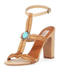 Valentino - Brown Embellished Woven Leather Sandals - Lyst